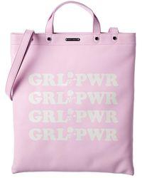 Rebecca Minkoff Girl Power Leather Magazine Tote - Pink