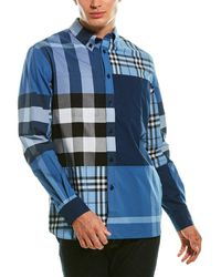 Burberry Patchwork Check Woven Shirt - Blue