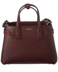 Burberry - Banner Vintage Check Leather Tote - Lyst