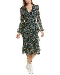 Saloni Alya Silk Midi Dress - Green
