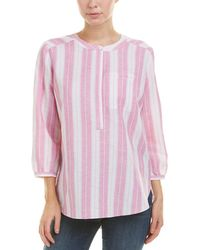 NYDJ Petite Pleatback Linen-blend Top - Pink