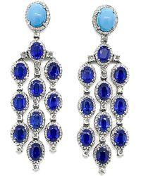 Arthur Marder Fine Jewelry 14k & Silver 3.00 Ct. Tw. Diamond & Gemstone Earrings - Blue