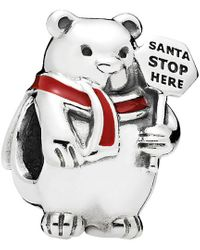 PANDORA Silver & Red Enamel Christmas Polar Bear Charm - Multicolour