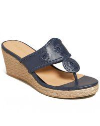 Jack Rogers Jacks Leather Wedge Sandal - Blue