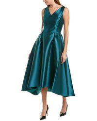 Tahari Solid Mikado V-neck Midi Dress - Green