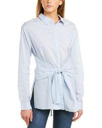 Three Dots Tie-front Shirt - Blue