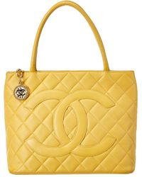 Chanel Yellow Quilted Caviar Leather Medallion Tote