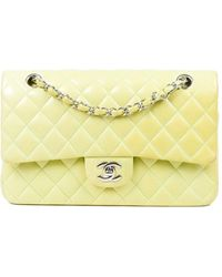 Chanel Green Lambskin Leather Small Double Flap Bag - Yellow