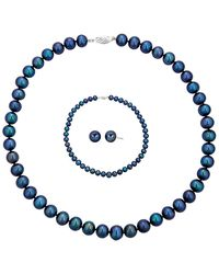 Belpearl Silver 9-10mm Freshwater Pearl Necklace, Earrings, & Bracelet Set - Metallic