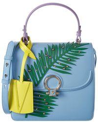 Versace Dv One Palm Stud Leather Satchel - Blue