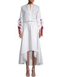 White Story Blouson Midi Dress - White