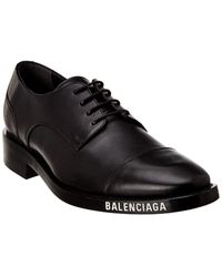 Balenciaga Logo Lace-up Leather Oxford - Black