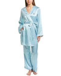 Morgan Lane Langley Silk-blend Robe - Blue