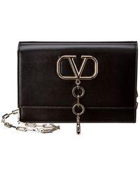 Valentino V-case Small Leather Clutch - Black