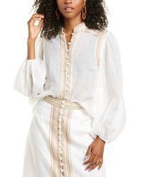 Zimmermann Cassia Corded Linen Blouse - White