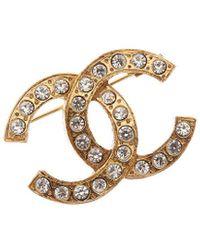 Chanel Gold-tone & Crystal Cc Pin - Metallic