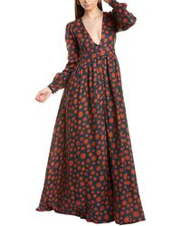 Agua Bendita Frambuesa Linen Maxi Dress - Red