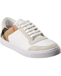 Burberry Suede & Leather House Check Sneaker - White