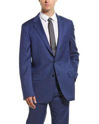 Hickey Freeman 2pc Milburn Ii Wool Suit With Flat Pant - Blue