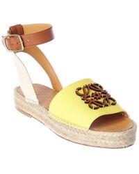 Loewe Anagram Canvas & Leather Espadrille Sandal - Yellow