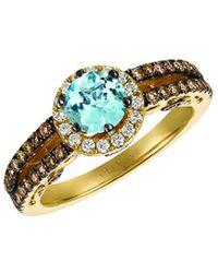 Le Vian ? Chocolatier? 14k Honey Gold? 1.15 Ct. Tw. Diamond & Aquamarine Ring - Metallic