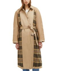 French Connection Anais Check Belted Trench Coat - Natural