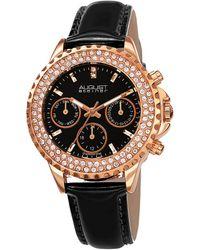 August Steiner Chronograph Quartz Diamond Crystal Black Dial Ladies Watch - Multicolour