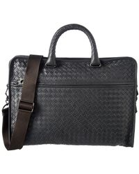 f509f735e37f Bottega Veneta Intrecciato Leather Briefcase in Blue for Men - Lyst
