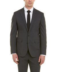 Cole Haan Tailored Wool-blend Suit With Flat Front Pant - Gray