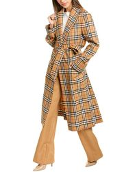 Burberry Reissued Vintage Check Wool Coat - Yellow