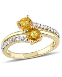 Rina Limor 10k 1.30 Ct. Tw. Diamond & Yellow Sapphire Ring - Metallic
