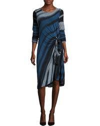 Three Dots Print Twist Knee Length Dress - Blue