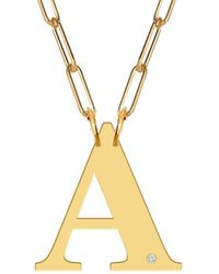 Jane Basch Block Initial & Diamond 22k Gold Over Silver Paper Clip Necklace (a-z) - Metallic