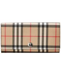 Burberry Vintage Check E-canvas Wallet - Brown