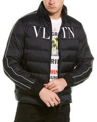 Valentino Logo Printed Down Coat - Black