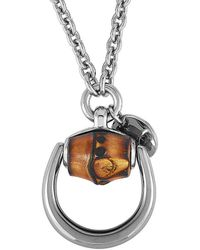 Gucci - Bamboo Silver And Natural Bamboo Horsebit Necklace - Lyst