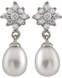 Splendid - Rhodium Plated Silver 6.5-7mm Freshwater Pearl & Cz Drop Earrings - Lyst