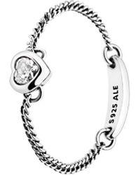 PANDORA - Silver Cz Spirited Heart Ring - Lyst