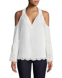 Ramy Brook Embroidered Cold-shoulder Top - White