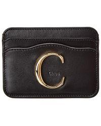 Chloé Signature Leather Card Holder - Black
