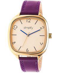 Simplify The 3500 Gold Dial Plum Leather Watch - Metallic