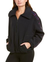 Terez Plaid Elastic Fleece Jacket - Black