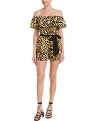 Jealous Tomato Off-the-shoulder Leopard Print Romper - Yellow
