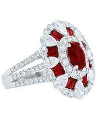 Diana M. Jewels . Fine Jewellery 18k 5.69 Ct. Tw. Diamond & Ruby Ring - Red