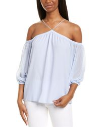 1.STATE High-neck Blouse - Blue