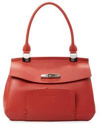 Longchamp Madeleine Leather Top Handle Satchel - Red