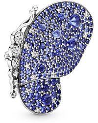 PANDORA Jewellery Silver Blue Pave Butterfly Brooch