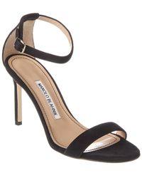 Manolo Blahnik Chaos 90 Suede Ankle Strap Sandal - Black