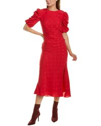 Saloni Annie B Silk Maxi Dress - Red