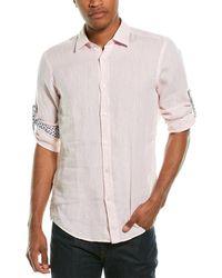 BOSS by HUGO BOSS Lukas Regular Fit Linen Shirt - Pink
